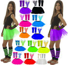 NEON TUTU SKIRT SET GIRLS  80's FANCY DRESS