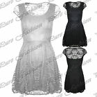 Womens Floral Lace Cap Sleeves Franki Flared Ladies Party Shift Skater Dress Top