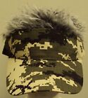 VISOR FAKE FLAIR SPIKED HAIR CAP HAT WIG COSTUME CAMO BLACK KHAKI GRAY BLONDE OS