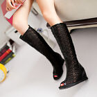 Womens Mid-calf Boots Hollow Black White Paris Shoes Open Toe Peep Toe Sandals