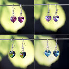 925 Sterling Silver Dangle Earring with Genuine Swarovski Elements Crystal Heart
