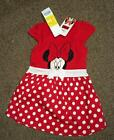 BNWT Disney Minnie Mouse girls red and white polka short sleeved summer dress