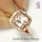 8mm Cushion Cut VS1 Pink Morganite Engagement Ring Halo Diamonds,14K Rose Gold
