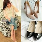 Ladies Womens Solid Color Thin Heel Pointed Head Fashion Shoes Black/Nude QQU