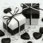 White Glossy & Black Silk Two Tone Square Box & Lid Wedding Favour Party Boxes