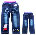 Kids Cute Childrens Boys Girls Peppa Pig Funny Blue Jeans Pants Aged 3-9 Years