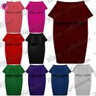 Womens Ladies Pencil Stretch Celeb Peplum Frill Bodycon Midi Skirt Plus Sizes
