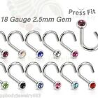 1pc. 18G~2.5mm Flat C.Z. Gem 316L Surgical Steel Nose Screw (Choose color)