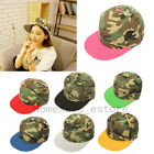 Women Men Adjustable Camouflage Snapback Hat Flat Bill Hip hop Baseball Cap