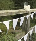 White Wedding Party bunting Christening Anniversary Decorations 10m - 30 flags
