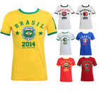 CLEARANCE NEW WOMENS FOOTBALL WORLD CUP 2014 ENGLAND BRAZIL RETRO T-SHIRT TOP