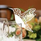 Hummingbird Place Cards For Wine Glass. Laser Cut On Luxury Pearlescent Card