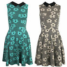 Womens Peter Pan Collar Contrast Floral Daisy Print Skater Flare Party Dress