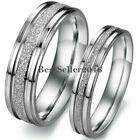 Silver Frosted Centered Stainless Steel Wedding Band Couples Engagement Ring