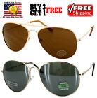 Gold Classic Aviator Cop Style Metal Frame Dark Lens Sunglasses Shades