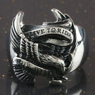Vintage Woman Man's Carved LIVE TO RIDE Eagle Hawk Stainless Steel Finger Ring