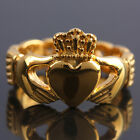 Gold Fashion Woman Mens Claddagh Crown Heart Stainless Steel Biker Finger Ring