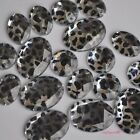 10/100 Silver Leopard Flatback Acrylic Stone Button Oval Round DIY Material Bead