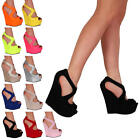 Womens Peep Toe Ladies Evening Party Platform High Heel Wedge Shoes Size 5-10