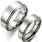 Silver Polished Flat Ring Tungsten Carbide Men Women Comfort Fit Wedding Band image