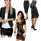 Ladies Faux Leather Pencil Skirt Sexy Wet-look Tight Bodycon Midi Dress Bf00