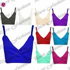 New Womens Ladies Strappy Wrap Over Thin Straps Cropped Bralet Boobtube Crop Top