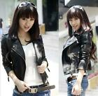 Womens Slim Black Biker Motorcycle Synthetic Leather Zipper Jacket Coat Size S