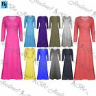 Womens Ladies Celebrity 3/4 Sleeves Plain Stretchy Flared Swing Long Maxi Dress