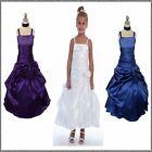 White Long Matt Satin Flower Girl Dress, Communion Confirmation Girls Dress