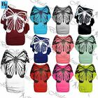 Womens Ladies Celeb Sequin Butterfly Print Off Shoulder Batwing Side Ruched Top