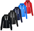 LADIES GIRLS PLAIN ZIP HOODED SWEATSHIRT FLEECE COAT TOP JACKET SIZES S TO XXL