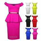 Womens Bardot Off Shoulder Gold Belted Peplum Frill Pencil Stretch Bodycon Dress