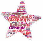 PERSONALISED CUSTOM WORD ART PRINT, ANY COLOUR, COMPLETELY UNIQUE, STAR 2