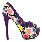New Glitter Floral Bow PeepToe Platform High Heel EVE Shoes Size 2.5/3/4/5/6/7/8