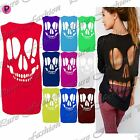 Womens Ladies Sleeveless Baggy Back Cut Out Skull T Shirt Vest Top Plus Sizes