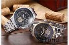Mens Luxury Tourbillon Automatic Mechanical Stainless Steel Sport Date Watch