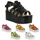 Ladies Strappy Womens Flatform Platform Wedge Peep Toe Chunky Sandals Size 4-9