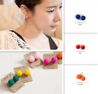 2014 New Fashion Fluorescent Candy Colored Frosted Ball Steel Stud Earrings