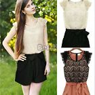 New Womens Hollow Lace Pleated waist Jumpsuits Rompers Short pants Playsuit BF00