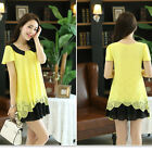 Women OL Flower Tops Two-tune Color Shift Chiffon Tunic Casual Blouse Mini Dress