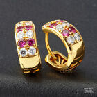 Yellow Gold Filled Created Ruby Huggies Earrings MK177USA1