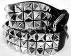3 ROW PYRAMID STUDDED BLACK LEATHER BELT BIKER GOTH PUNK SIZES S M L XL 2XL