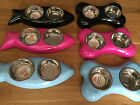 Pet Bowls Double new Bone or Fish shaped Dog Puppy Cat Kitten bowl pink blue