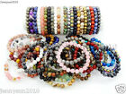 Handmade 8mm Mixed Natural Gemstone Round Beads Stretchy Bracelet Healing Reiki  image