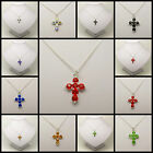 Handmade Silver Chain Necklace With Coloured Rhinestone Cross Pendant W077