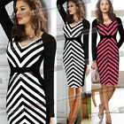 Womens Striped Colorblock Cotton Tunic Wear To Work Party Pencil Shift Dress 696