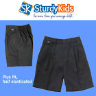 Boys Plus Size/ Generous Fit Formal School Shorts in Grey or Navy - Half Elastic