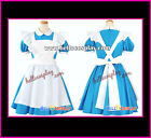 Alice's Adventures in Wonderland Cosplay Costume Blue White Maid Dress Lovely