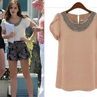 Women's Celebrity Style Vintage Chiffon Slim Tops Casual Shirt Career Fit Blouse