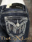 Womens GRACE IN LA Bootcut Jeans Silver Cascading Pockets with Crystals!
